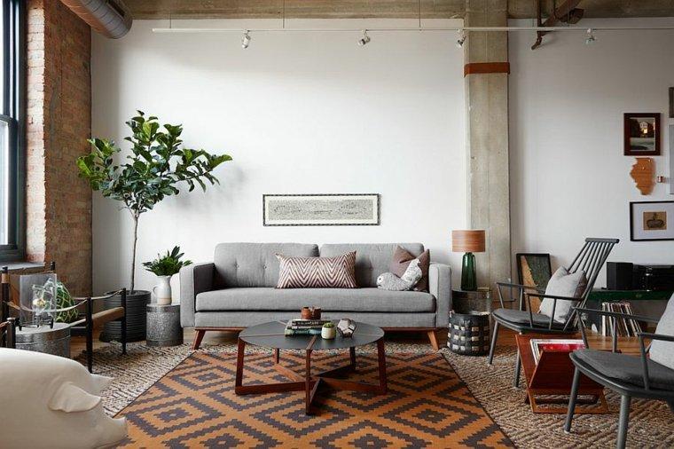 salon contemporaneo decoracion estilo escandinavo industrial ideas