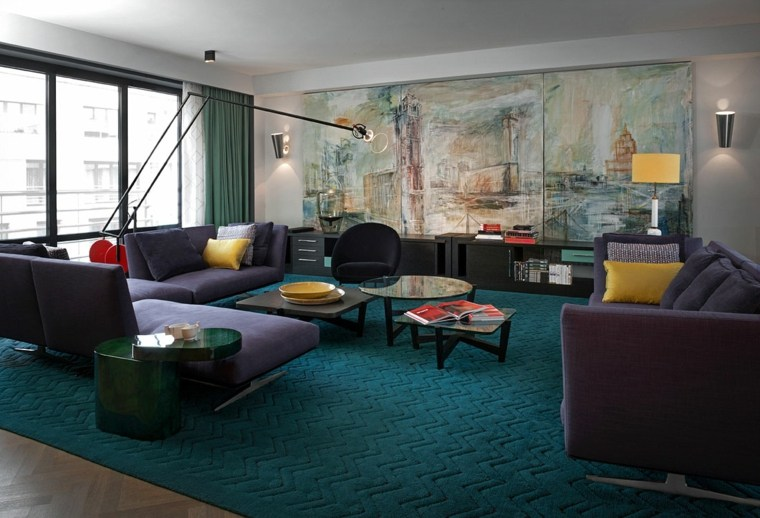 salon urbano muebles colores oscuros arte pared ideas