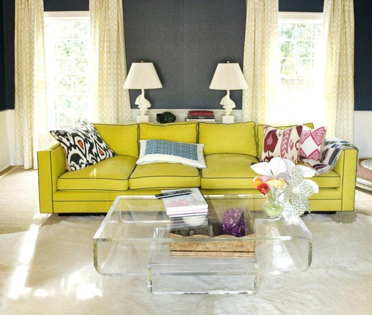 sofa color amarillo mesilla transparente