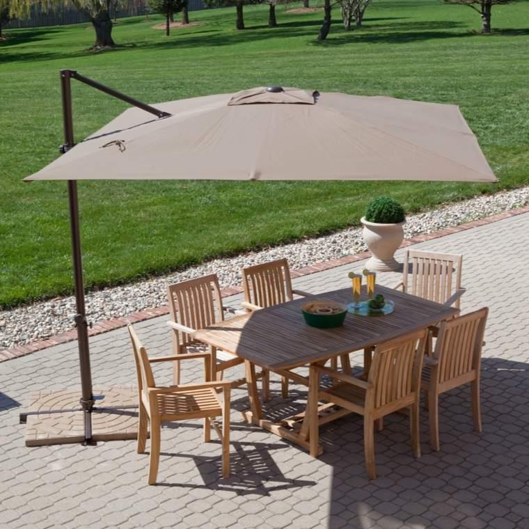 sombra luz jardin patio muebles madera sombrilla ideas