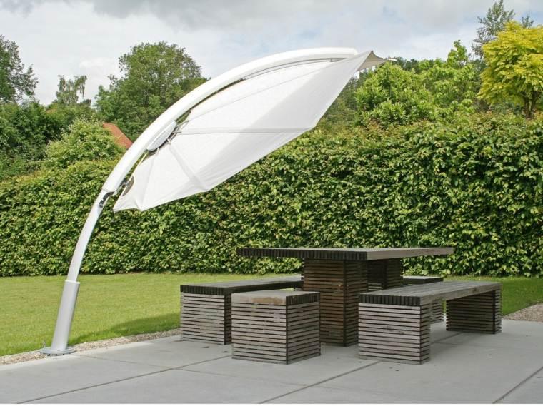 sombra luz jardin sombrilla blanca grande ideas
