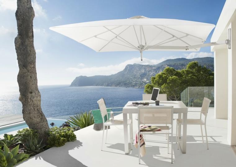 sombra y luz jardin sombrilla blanca terraza diseno minimalista ideas