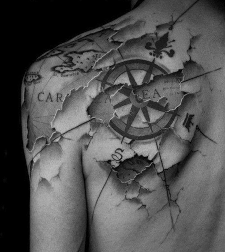 tatuaje forma mapa roto