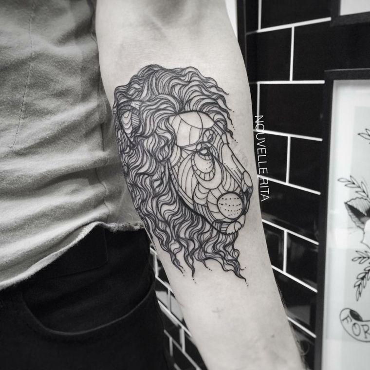 tatu león cara negrita