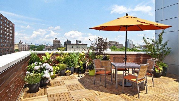 terraza moderna esquina plantas flores terraza ideas