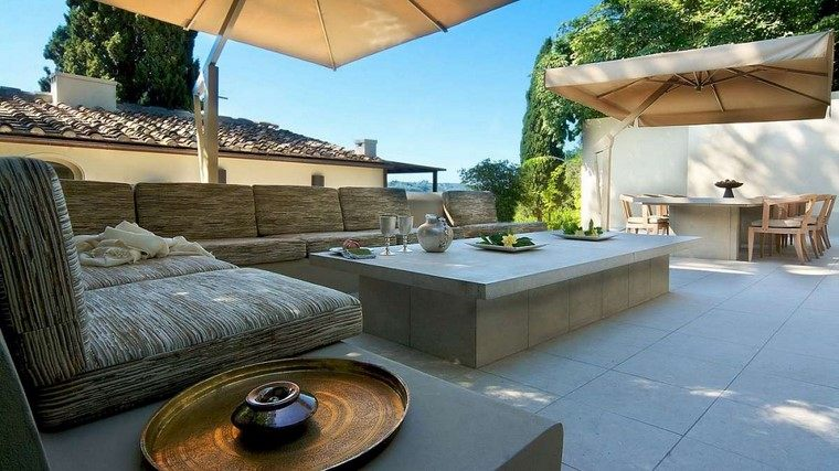 terraza moderna mesa hormigon cafe comedor ideas