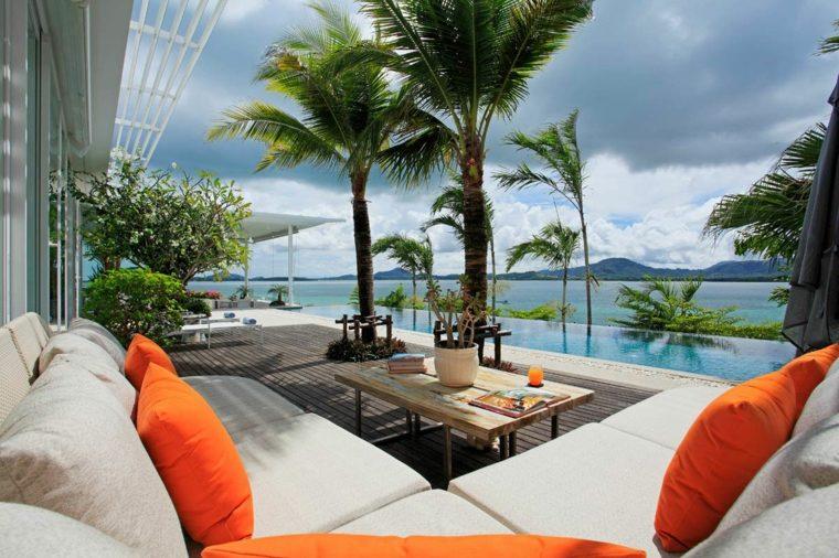 terraza moderna piscina infinita vistas ideas
