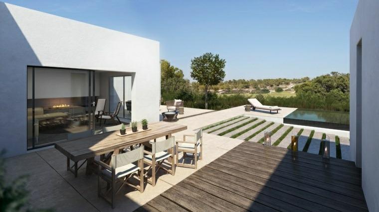terrazas decoracion diseno residencia moderna mesa madera ideas