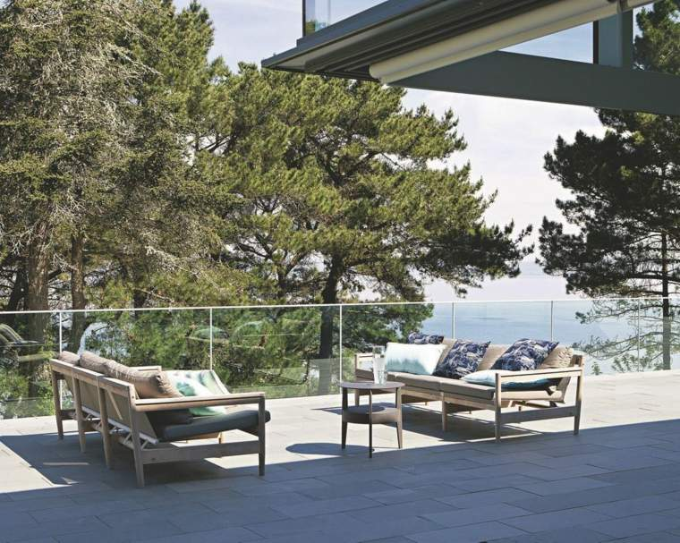 terrazas decoracion diseno sofas madera teca ideas