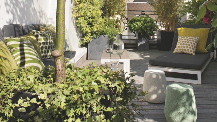 terrazas decoracion diseno taburetes preciosos plantas ideas