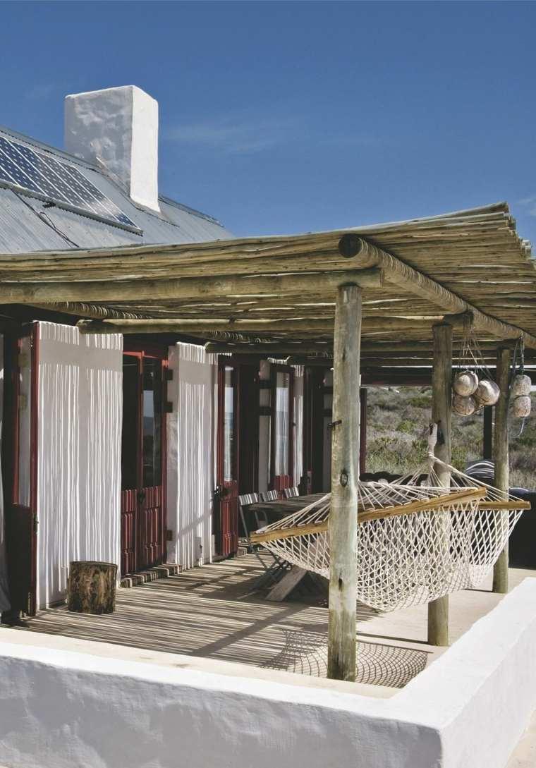 terrazas diseno exteriores pergola madera hamaca ideas
