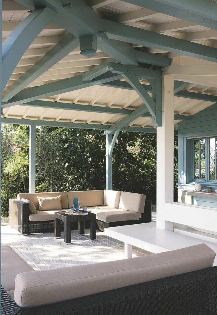 terrazas diseno exteriores pergola madera proteger sol ideas