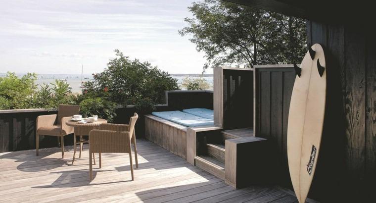 terrazas diseno exteriores suelo madera muebles modernos ideas