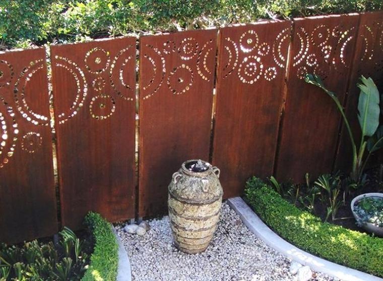 valla jardin moderna acero corten