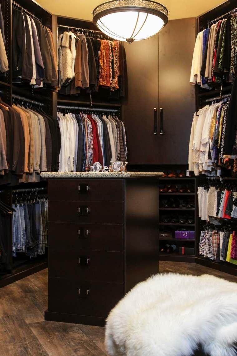 vestidor oscuro muebles ropa isla ideas