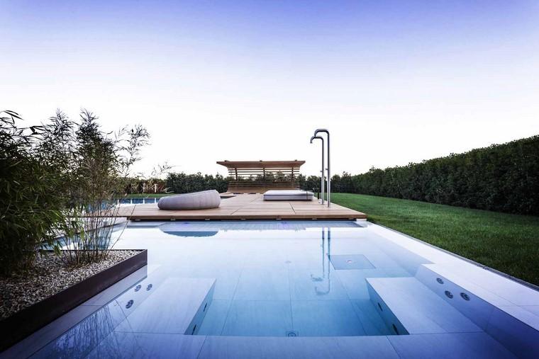 zona de comfort jardin moderno madera cesed agua ideas