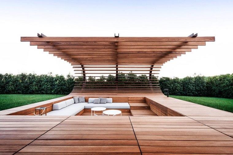 zona de comfort jardin moderno mueble madera nivel bajo ideas