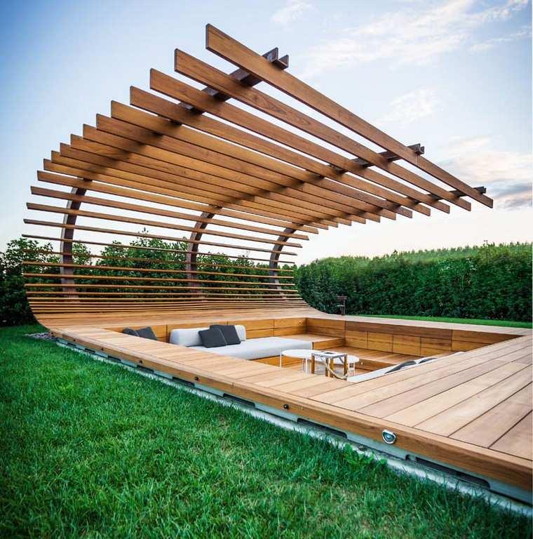 zona de comfort jardin moderno pergola madera ideas