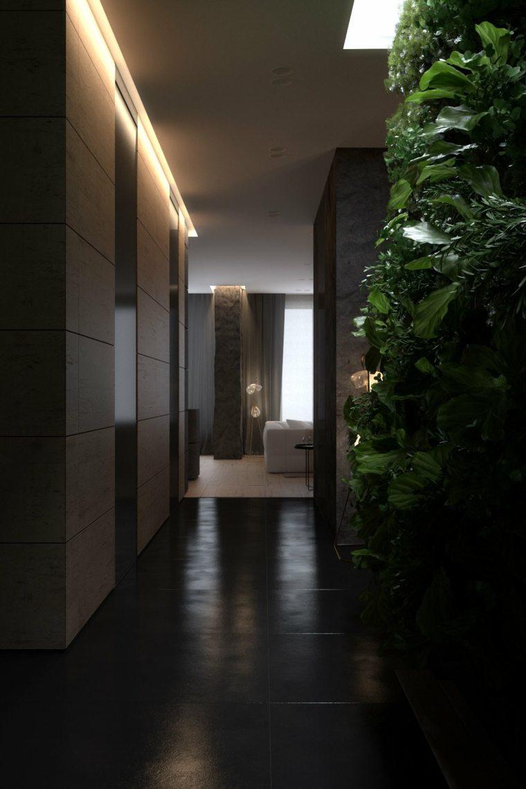 Dise os de interiores oscuros dos modelos de casas for Suelo negro brillante