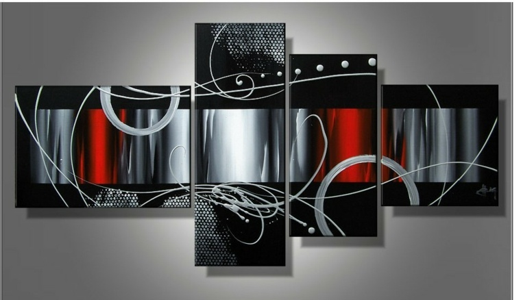 adornos pared panel negro rojo blanco