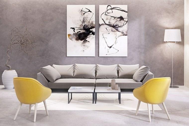 amarillo acentos sillones lamparas grises