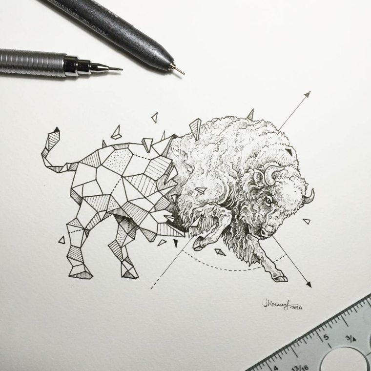 animal toro bestia formas geometricas