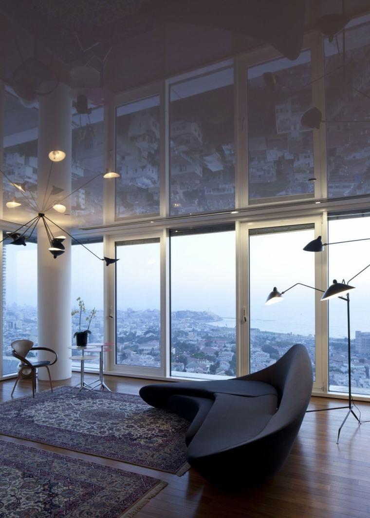apartamento Tel Aviv diseno moderno salon alfombras lamparas ideas