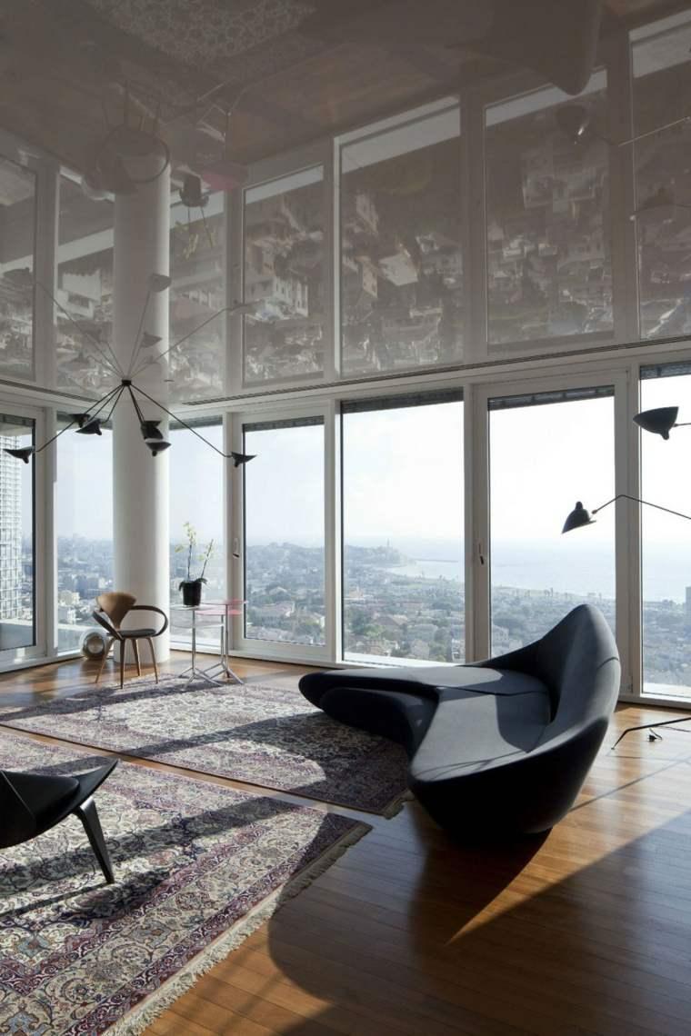 apartamento Tel Aviv diseno moderno salon amplio sofa ideas