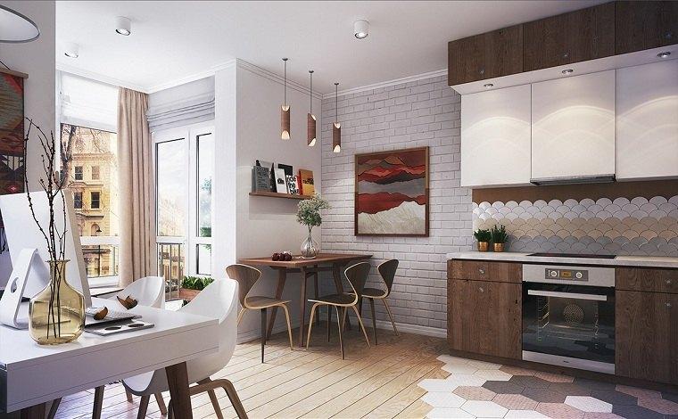 apartamentos diseños maderas elegantes colores
