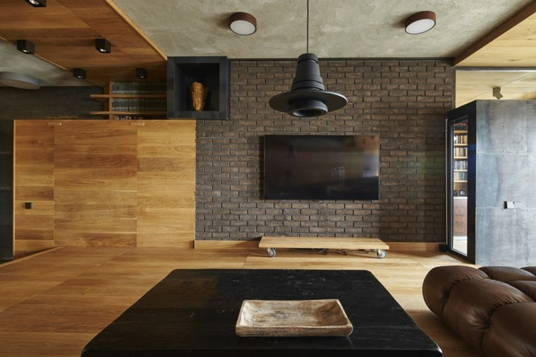 apartamentos en moscú combinación negro madera