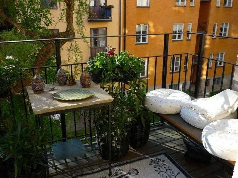 balcones modernos diseno muebles detalles banco cojines ideas