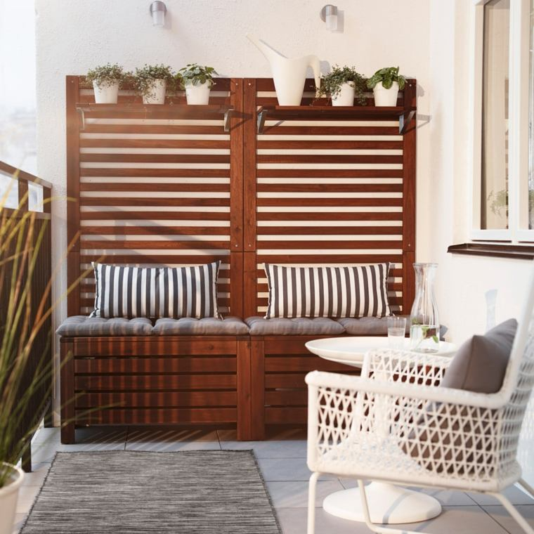 balcones modernos diseno muebles detalles banco madera ideas