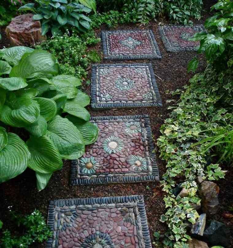 baldosas jardín cuadradas mosaicos piedras