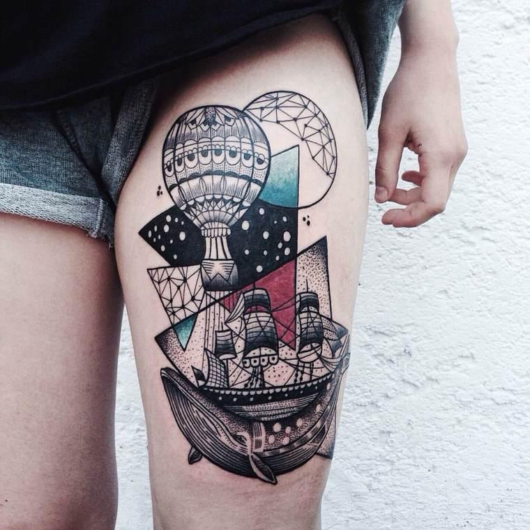 ballena barco globos noche