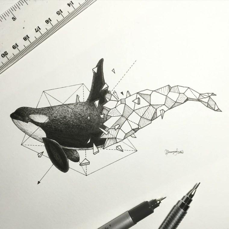 ballena diseno ideas para tatuajes formas geometrivcas