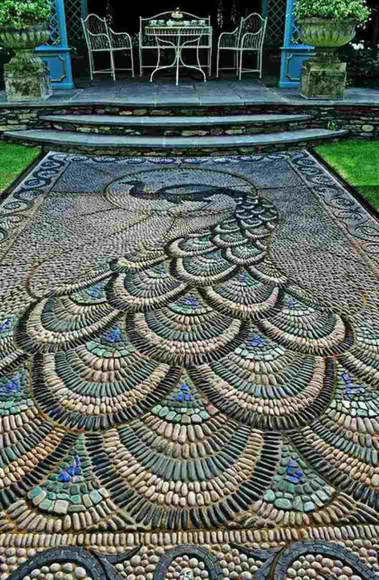 mosaico de guijarros para decorar el jard n ideas