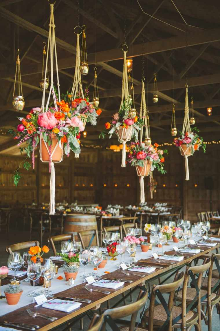 decoración vintage para bodas boda estilo vintage macetas flores colgando techo ideas