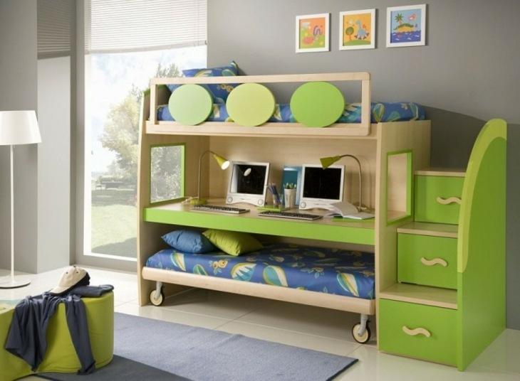 cama escritorio espacio verde lineas