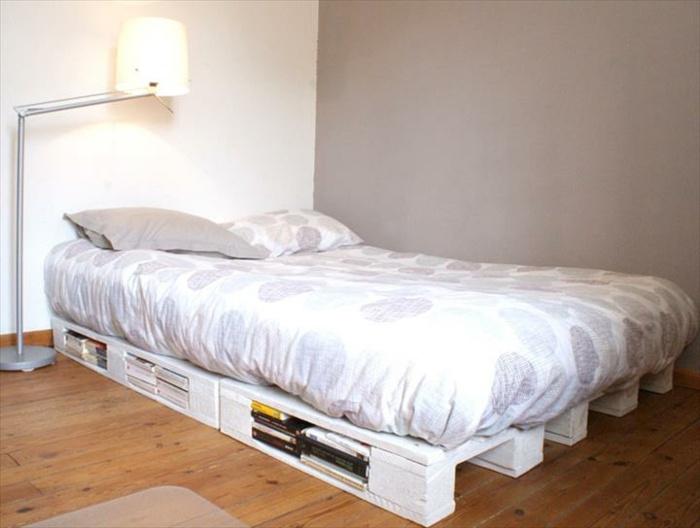 camas con palets blanca baja simples