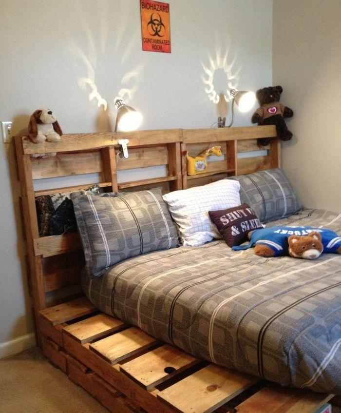 camas con palets infantiles habitaciones colores - Camas Con Palets