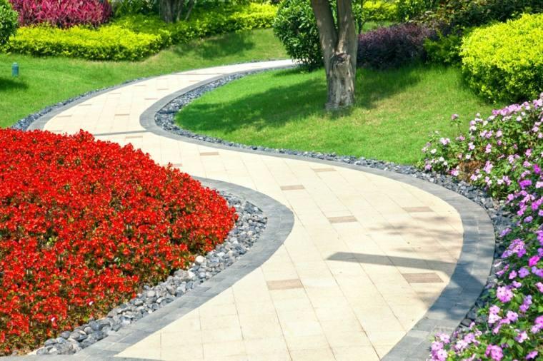camino curvas plantas coloridas frontera piedras ideas