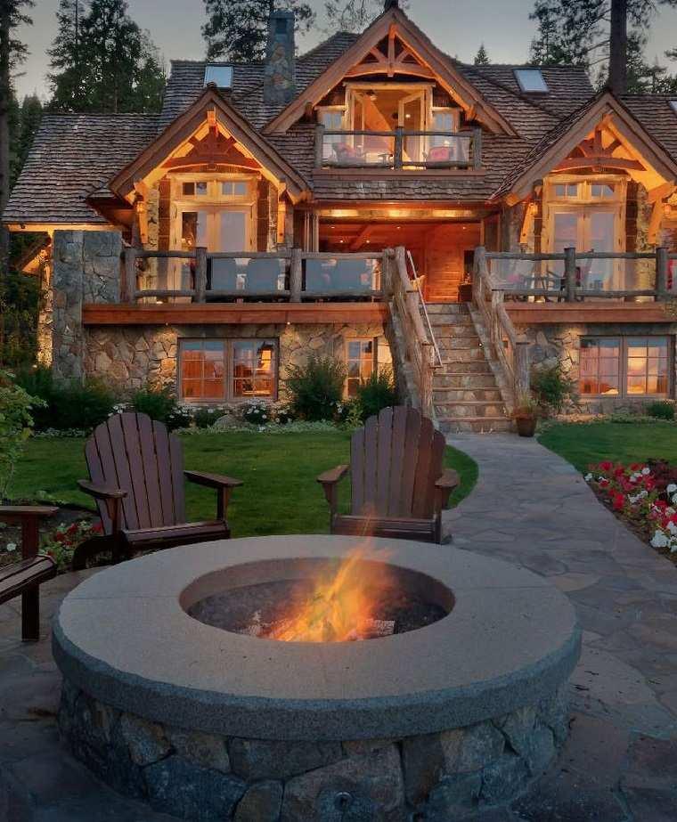 casa rustica diseno jardin pozo fuego descanso ideas