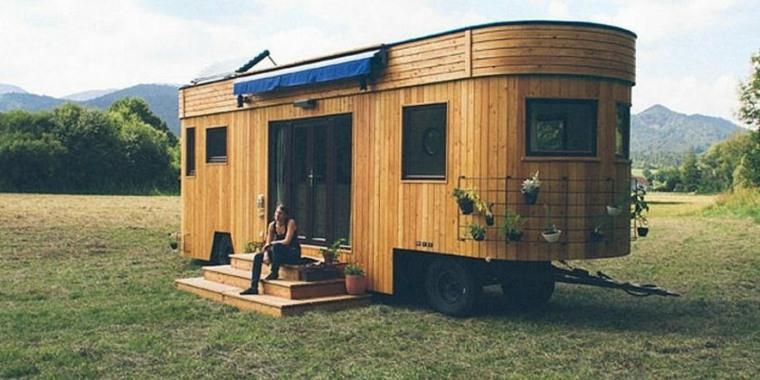 casa transportable ruedas madera plantas ideas