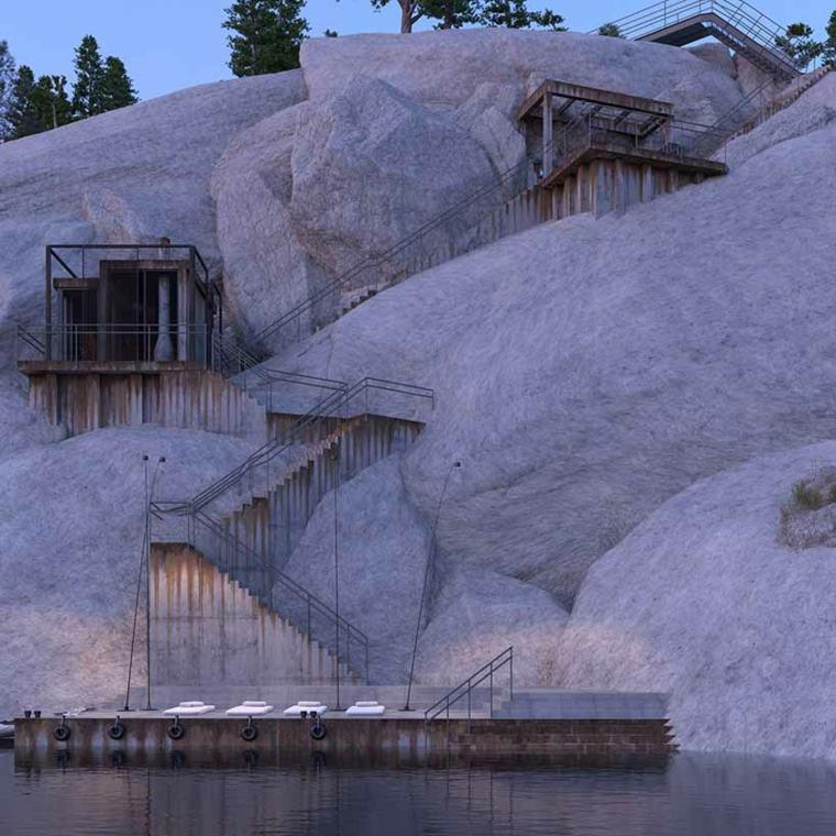 casas especiales rocas rusia escaleras