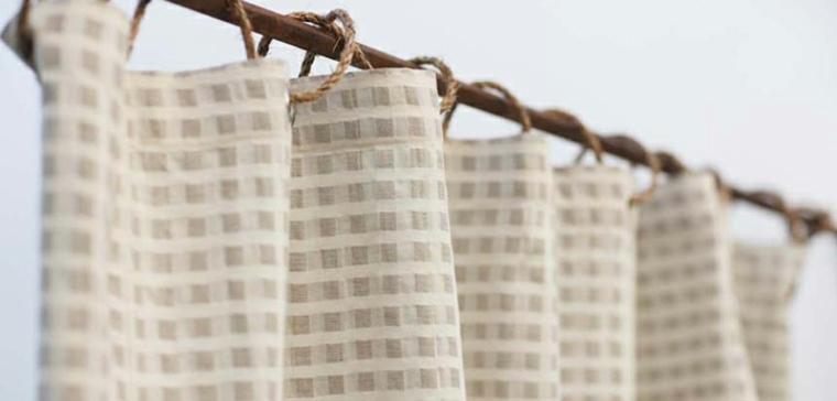 cortina cuadros algodón natural