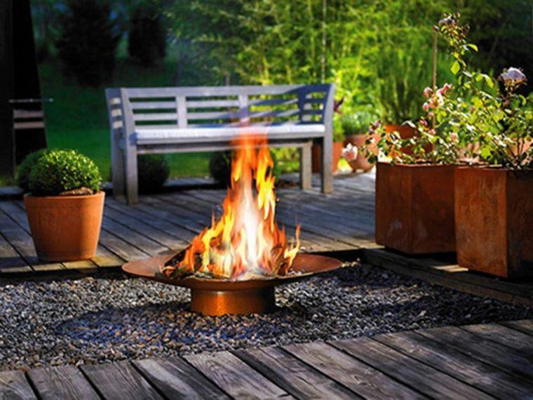 chimeneas de jardín plato ancho