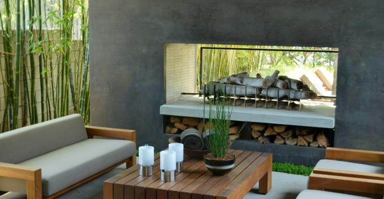 chimeneas para exteriores pared