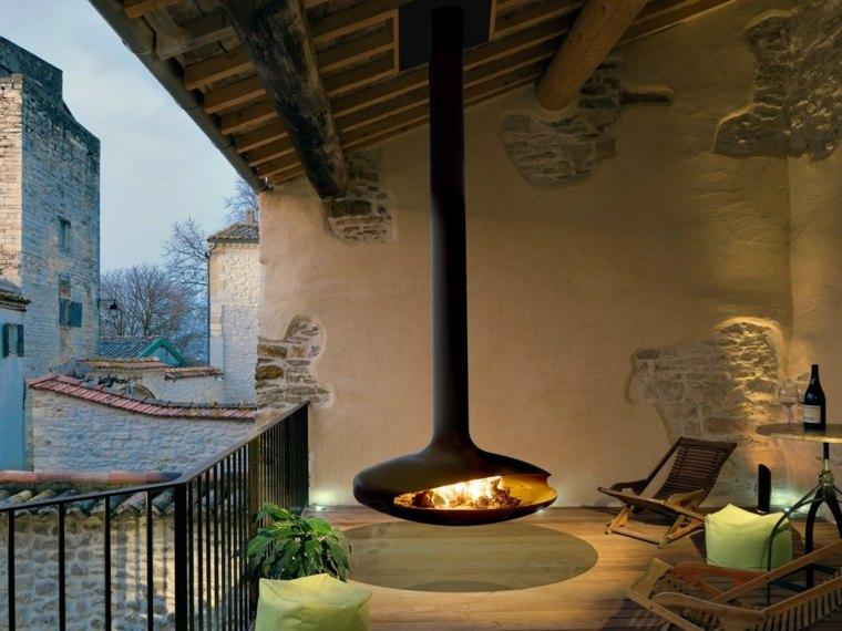 chimeneas para terrazas forma alargada