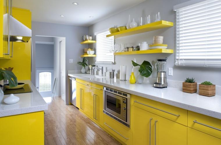 cocina familiar diseno opciones modernas gabinetes amarillos ideas