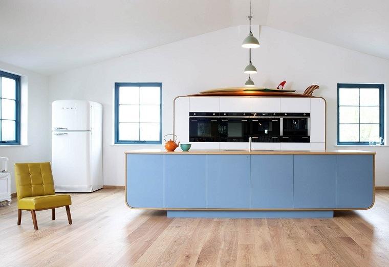 cocina diseno opciones modernas isla azul preciosa ideas